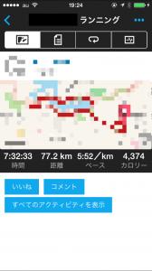 77キロ走の際のGarmin Connect